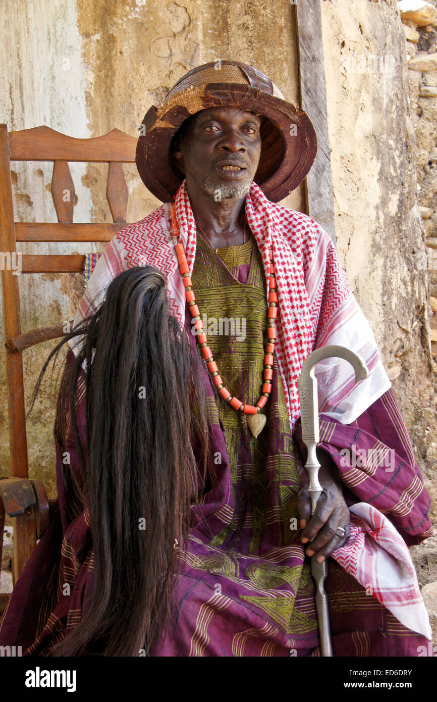 Chief of Taneka Beri village, Atakora region, northern Benin - Stock Image