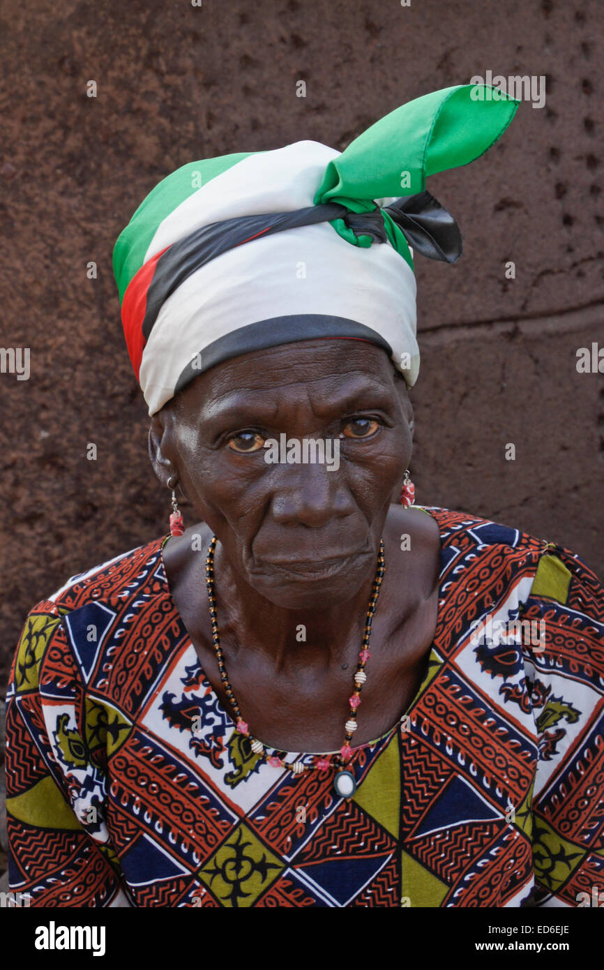 Elderly woman of Gambaga, Ghana - Stock Image