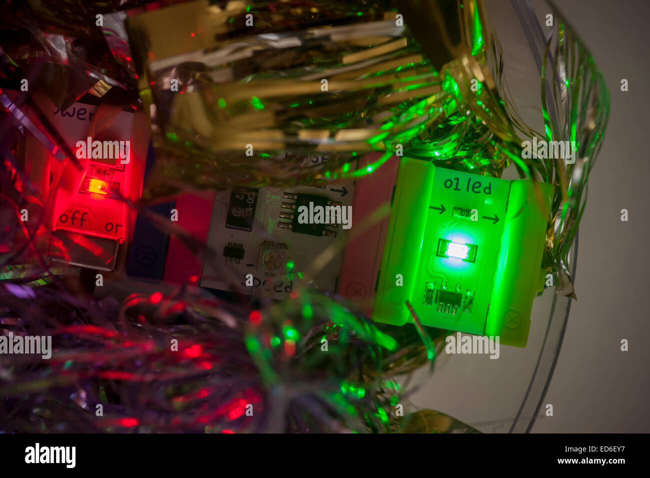 A LittleBits module flashing in a Christmas ornament in New York on Thursday, December 25, 2014. RadioShack joined - Stock Image