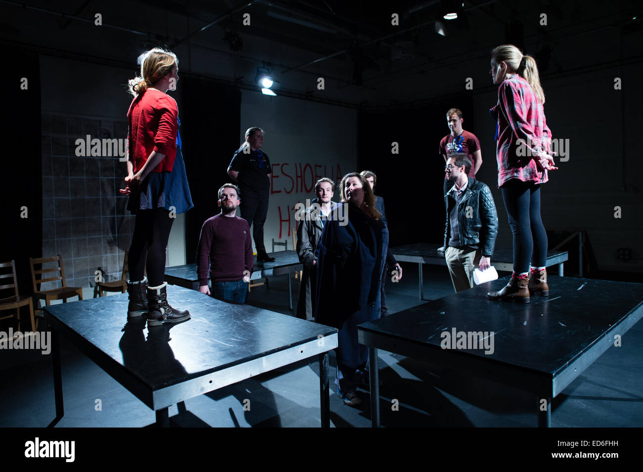 Theatre studies students at Aberystwyth University performing in a welsh language multimedia physical theatre production - Stock Image