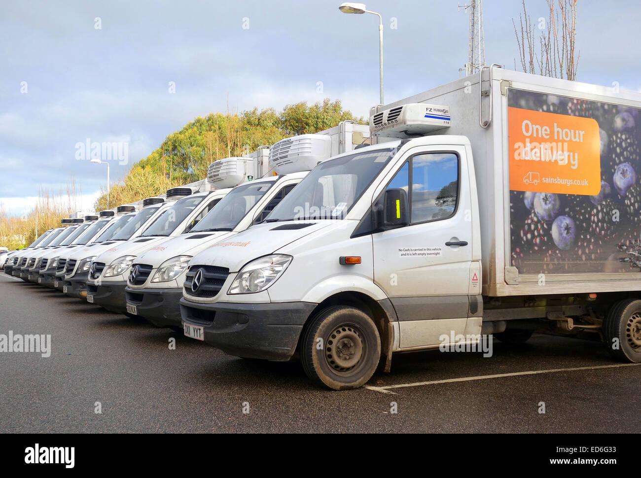 Sainbury delivery vans - Stock Image