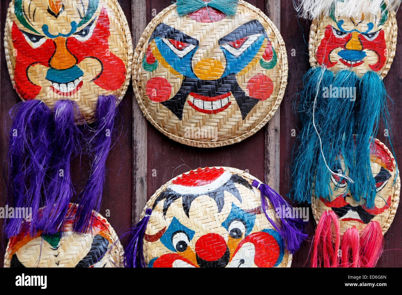 Traditional Vietnamese masks for sale, Temple of Literature, Hanoi, Vietnam Stock Photo