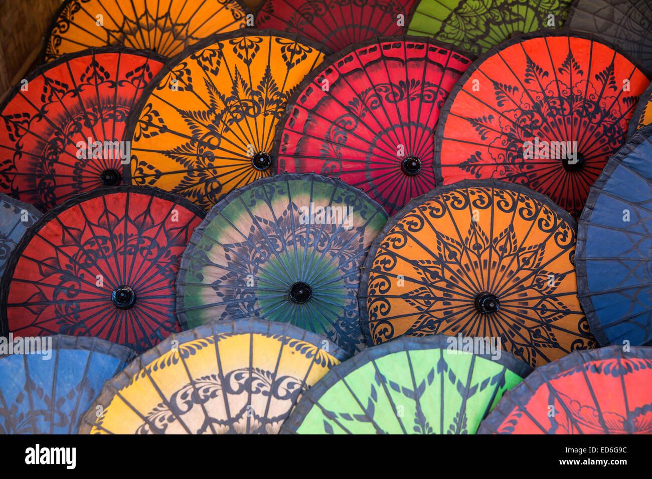 Oiled paper parasols for sale near Htilominlo Pagoda, Bagan, Myanmar - Stock Image