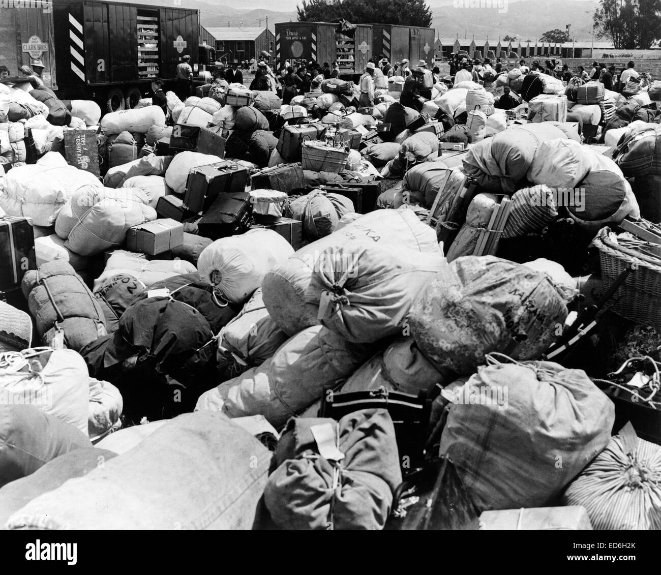 Baggage belonging to evacuees of Japanese ancestry at an assembly center in Salinas,Calif., prior to transfer to - Stock Image