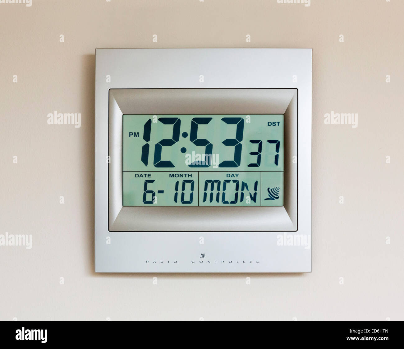 digital LCD clock that is radio controlled - Stock Image