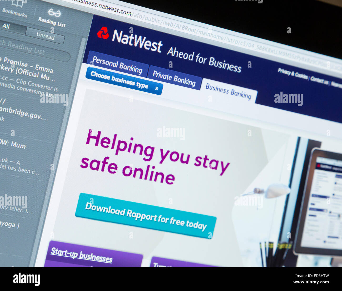 NatWest bank website page - Stock Image