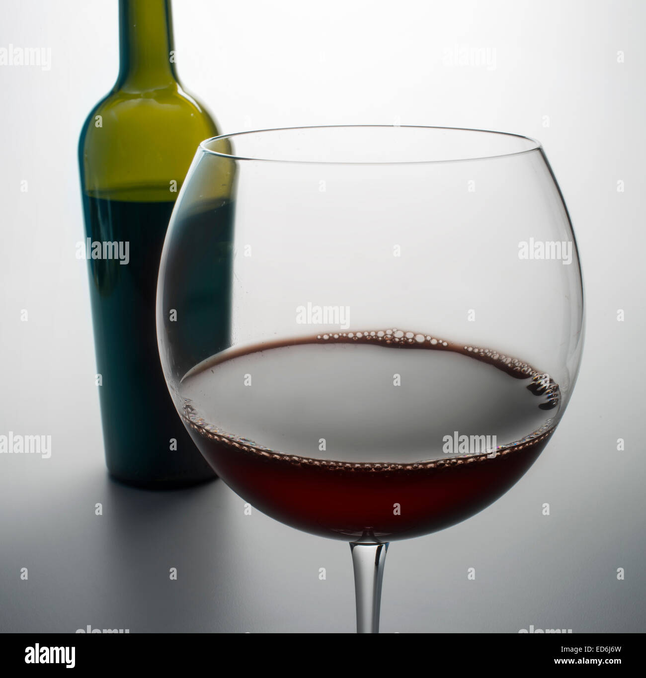 wine bottle and glass - Stock Image