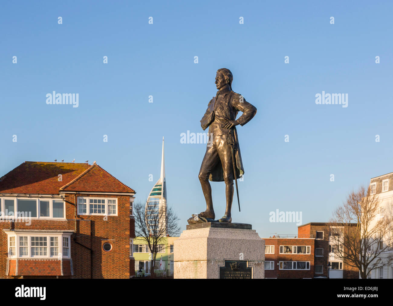 Sightseeing naval history: statue of Admiral Lord Horatio Nelson, hero of the Battle of Trafalgar, in Portsmouth, - Stock Image