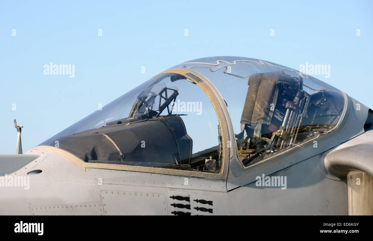 Modern AV-8 Harrier military jet canopy and cockpit Stock Photo