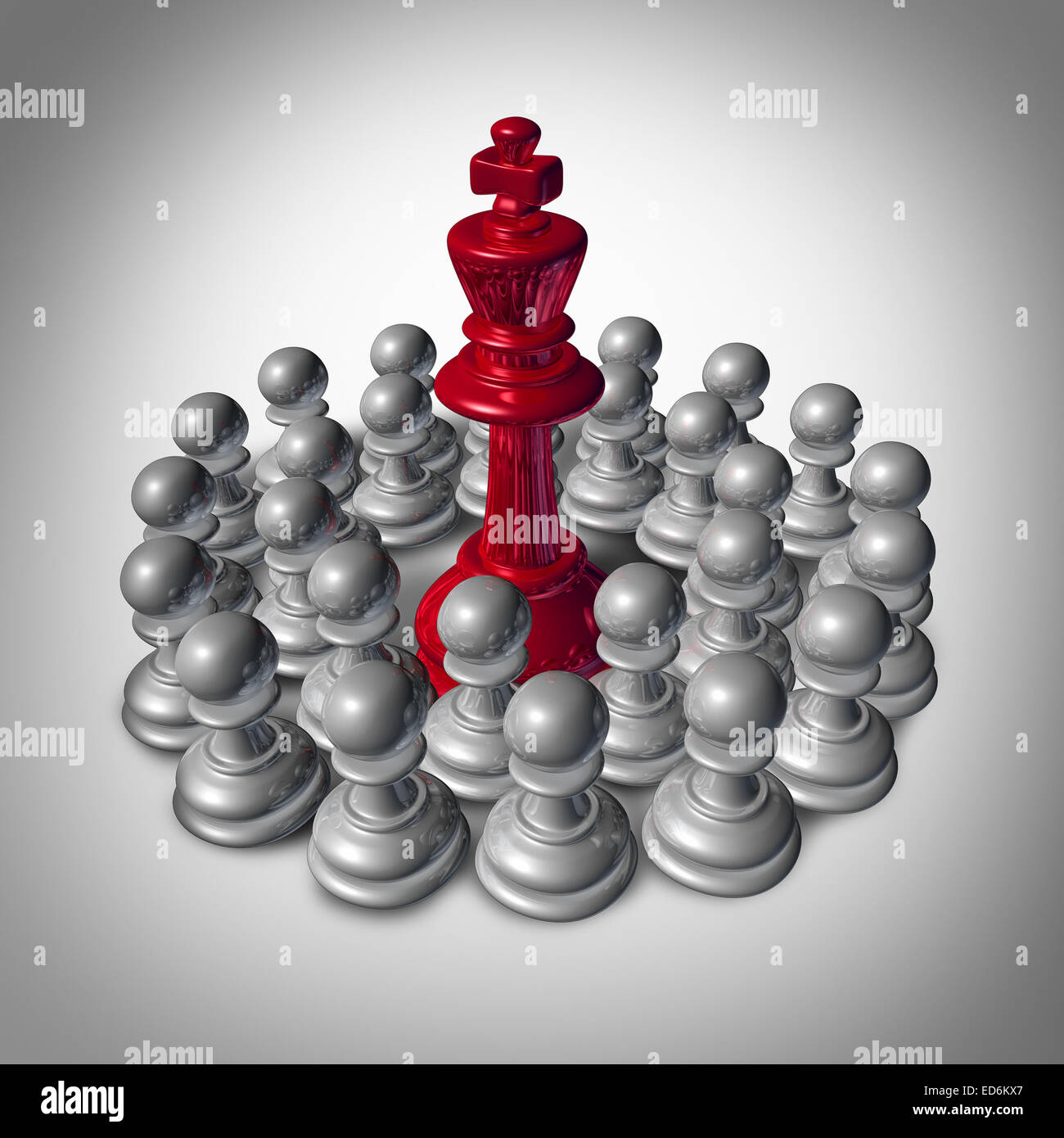 Checkmate business concept and team strategy symbol as an organized group of small chess pawns coming together to - Stock Image