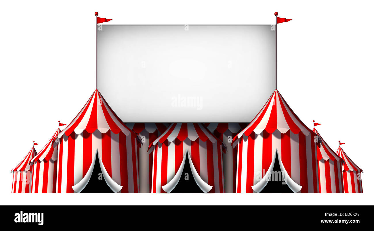 Circus sign as a group of big top carnival tents with a  large blank billboard as a fun entertainment icon for a - Stock Image
