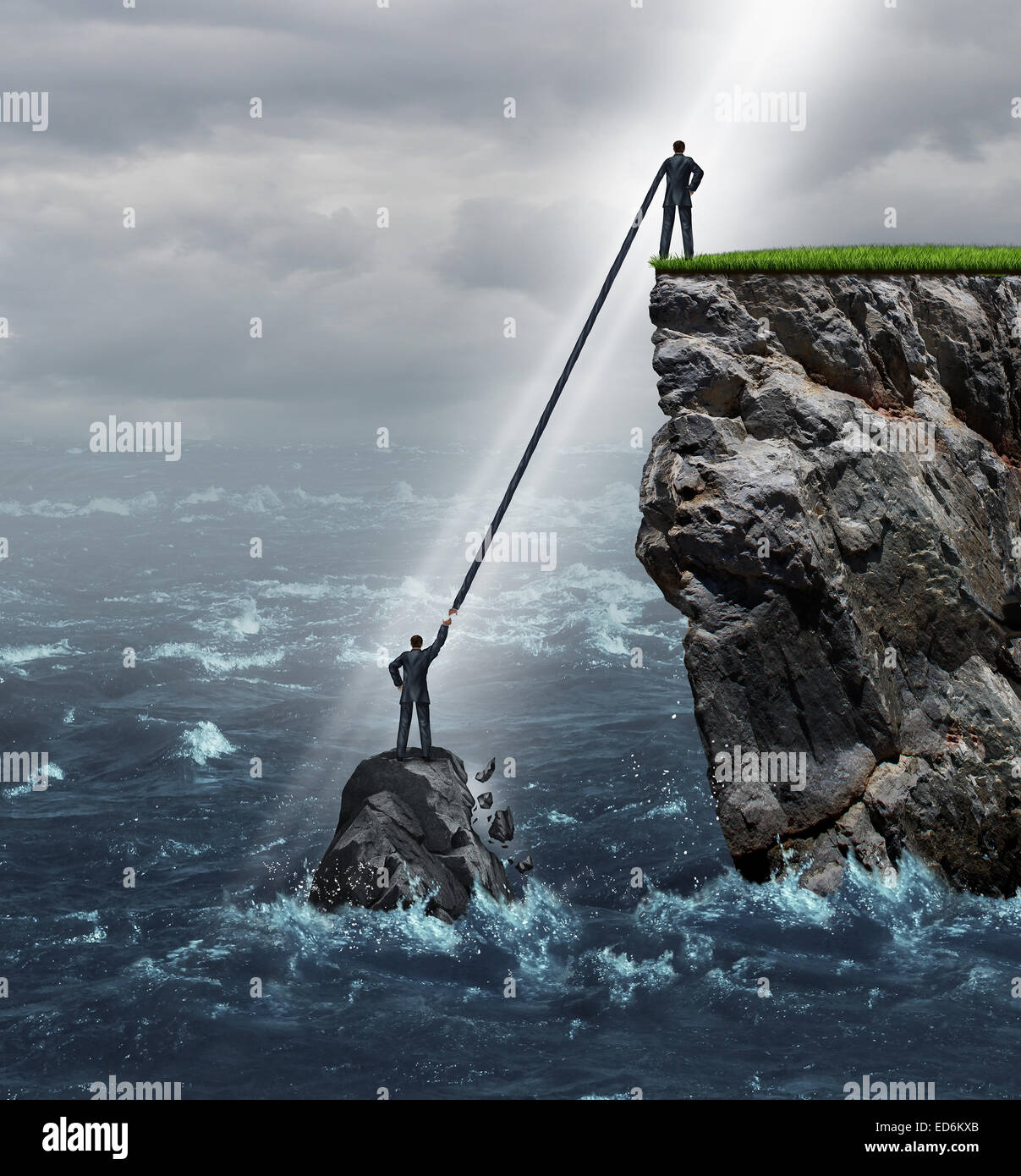 Embrace opportunity business concept as a person in a crisis stranded in the ocean being supported by an extended - Stock Image