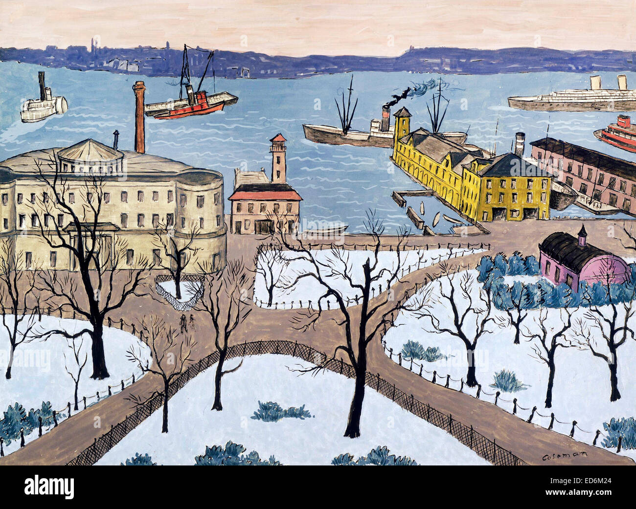 Glenn O. Coleman, Battery Park. Undated. Gouache on paper. The Phillips Collection, Washington, D.C., USA. - Stock Image