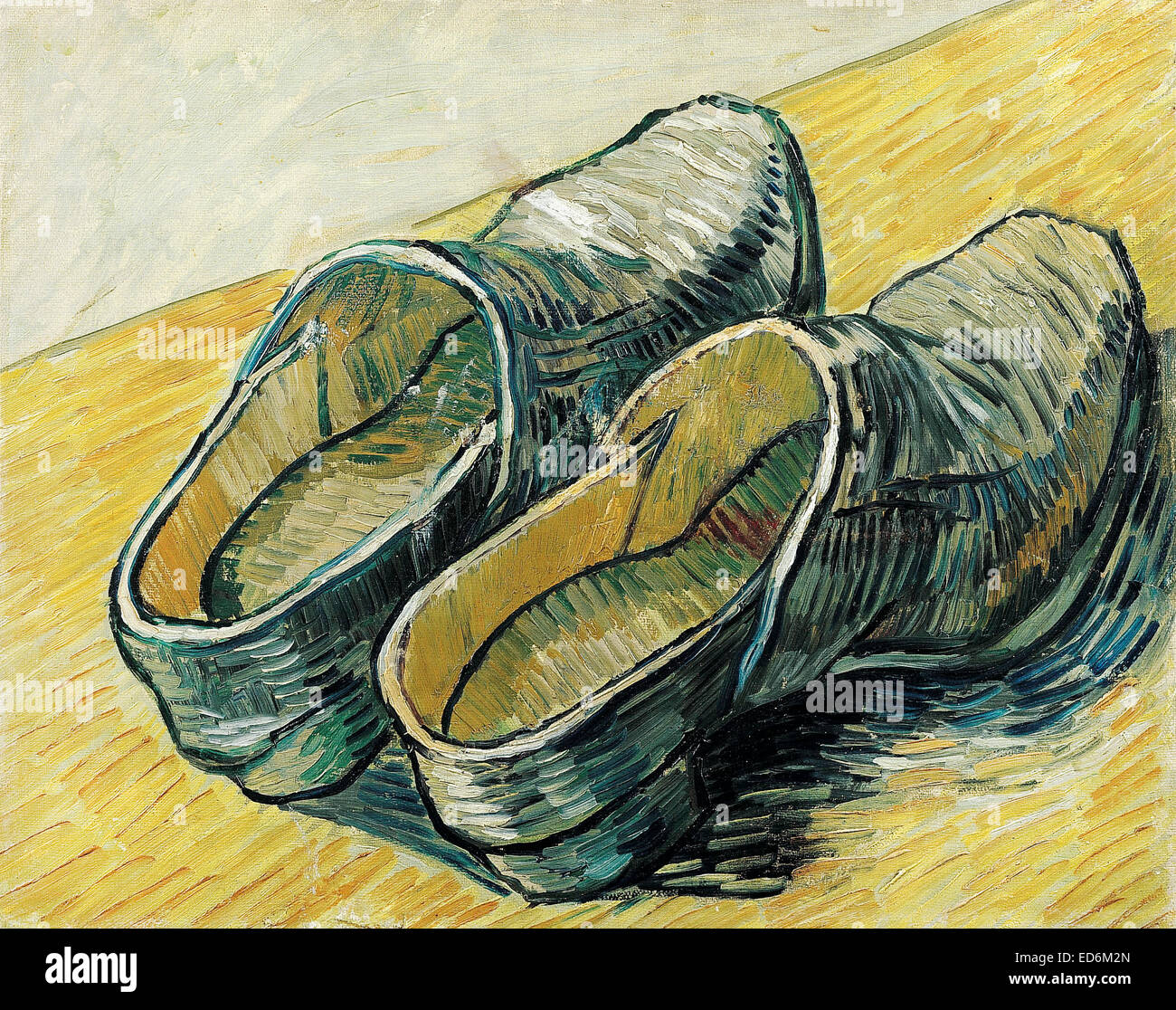 Vincent van Gogh, A Pair of Leather Clogs. 1888. Post-Impressionism. Oil on canvas. Van Gogh Museum, Amsterdam, - Stock Image