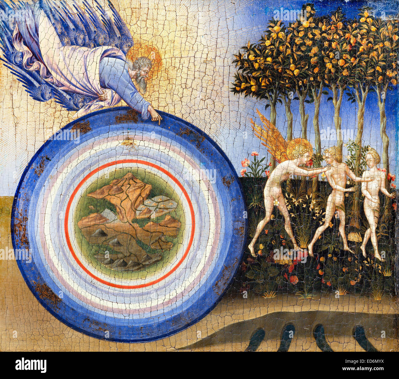 Giovanni di Paolo, The Creation of the World and the Expulsion from Paradise 1445 Tempera and gold on wood. Metropolitan - Stock Image