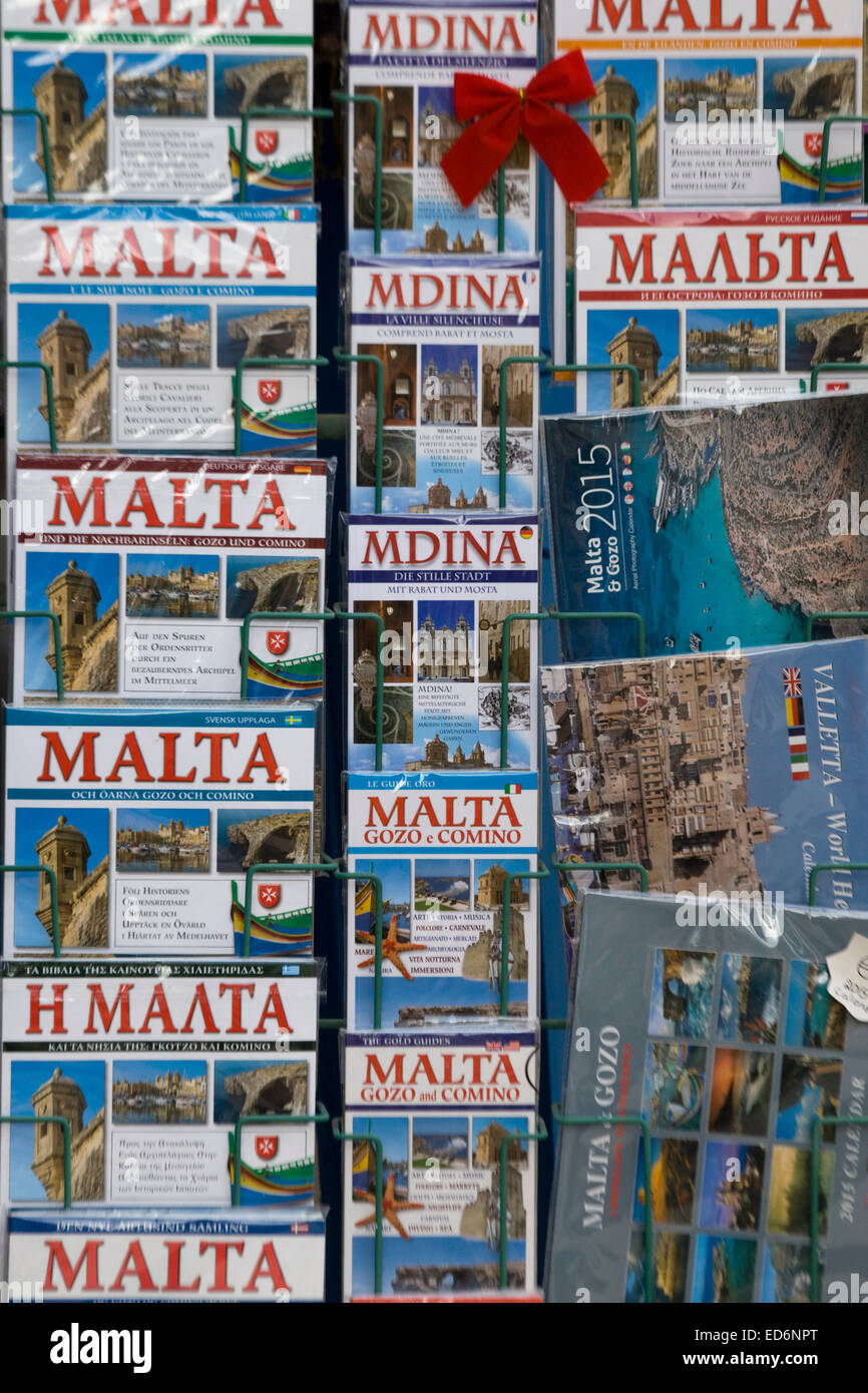 Guide books for Mdina and Malta - Stock Image