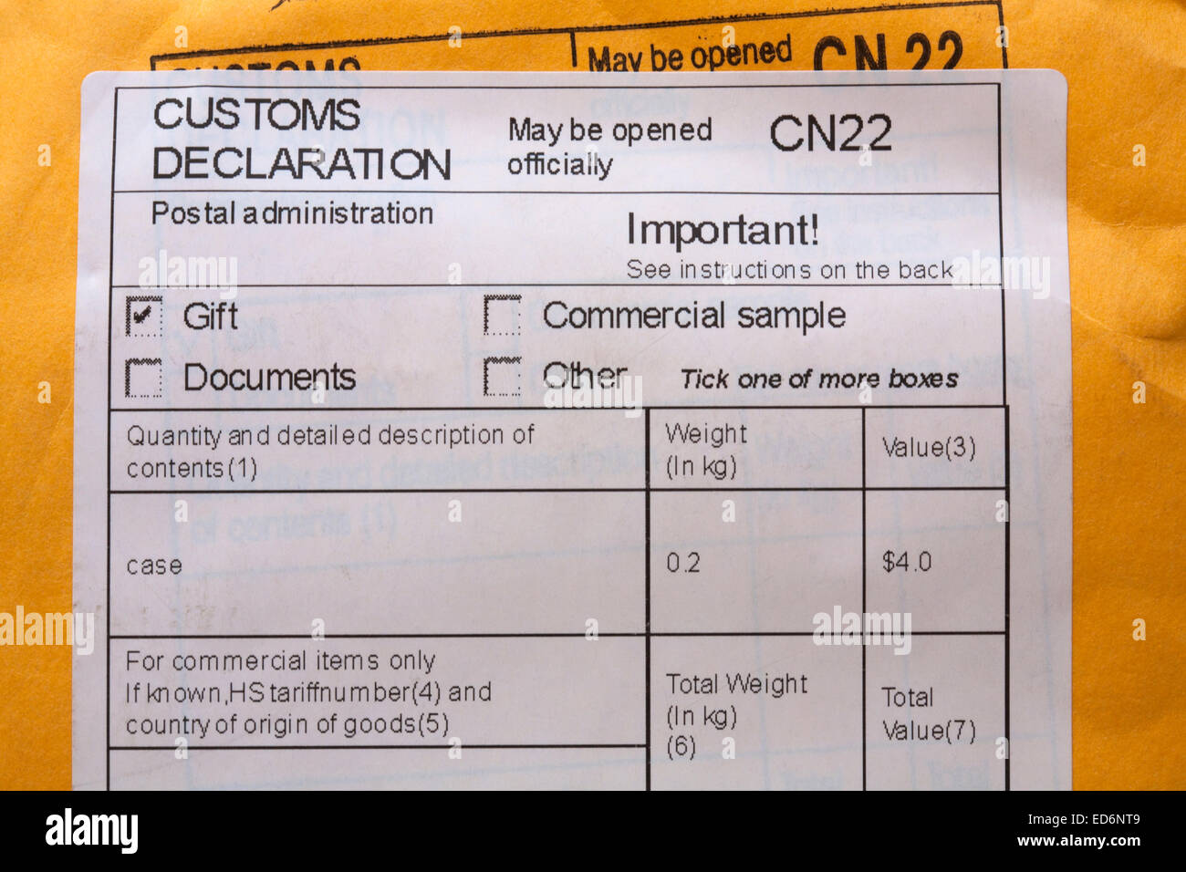 Customs declaration information on package stock photo 76980857 alamy customs declaration information on package thecheapjerseys Choice Image
