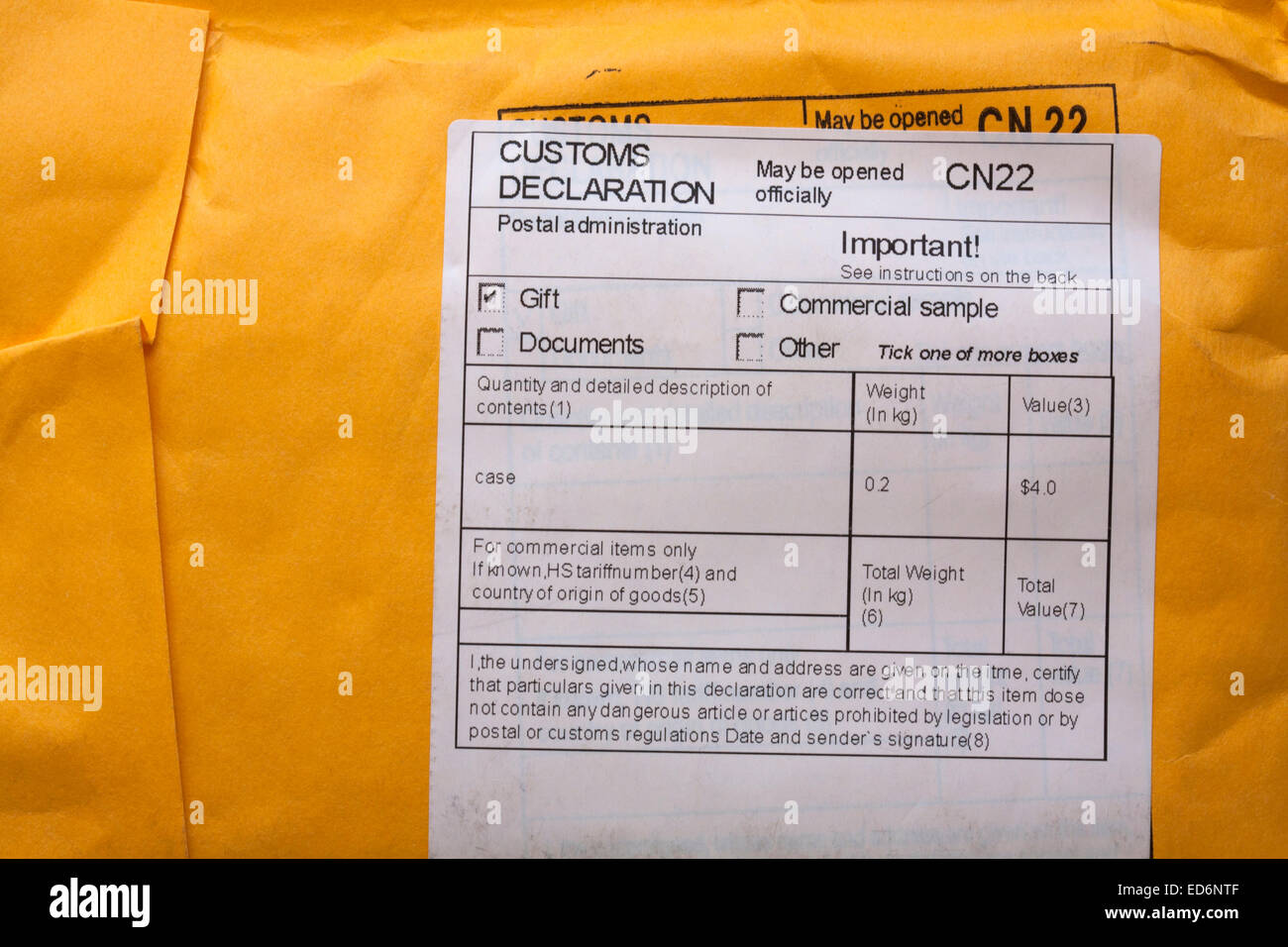 Customs declaration information on package stock photo 76980863 alamy customs declaration information on package thecheapjerseys Choice Image