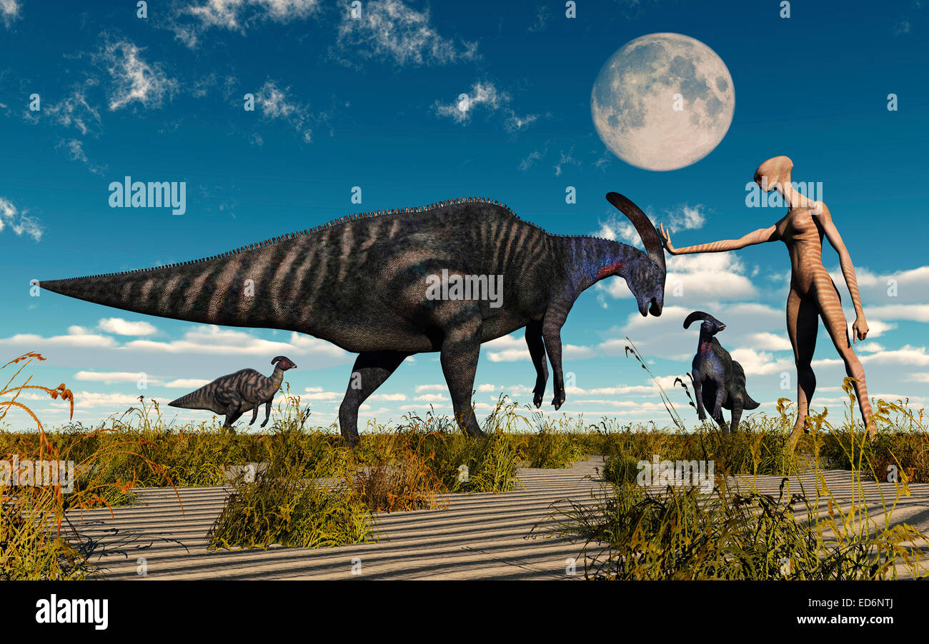 A Reptoid Being Using Telepathy To Communicate To A Parasaurolophus Dinosaur. - Stock Image