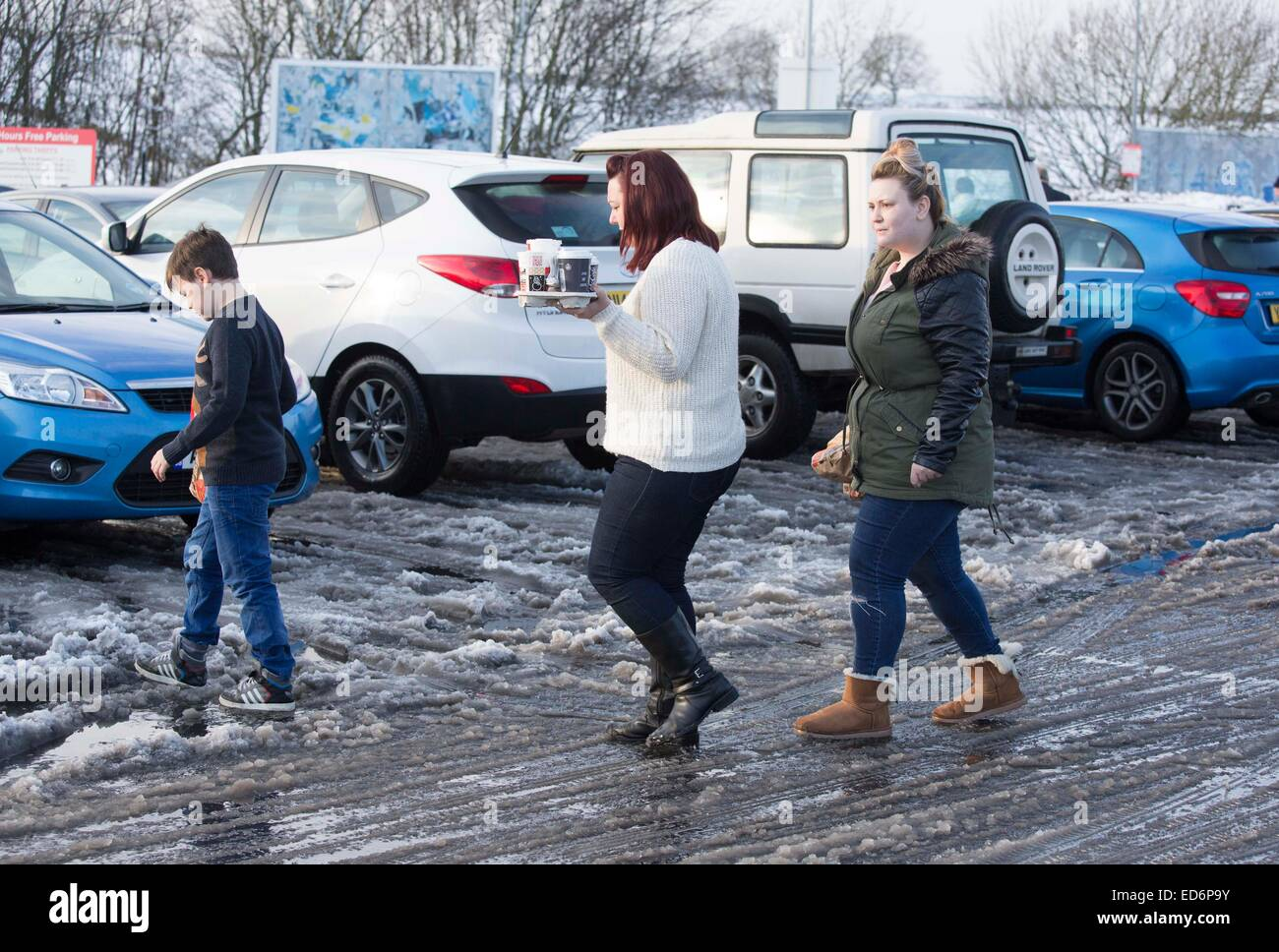 Pic shows: Service station on M1 treacherous under foot. snow and ice on the road led to tailbacks.     Pic by Gavin - Stock Image