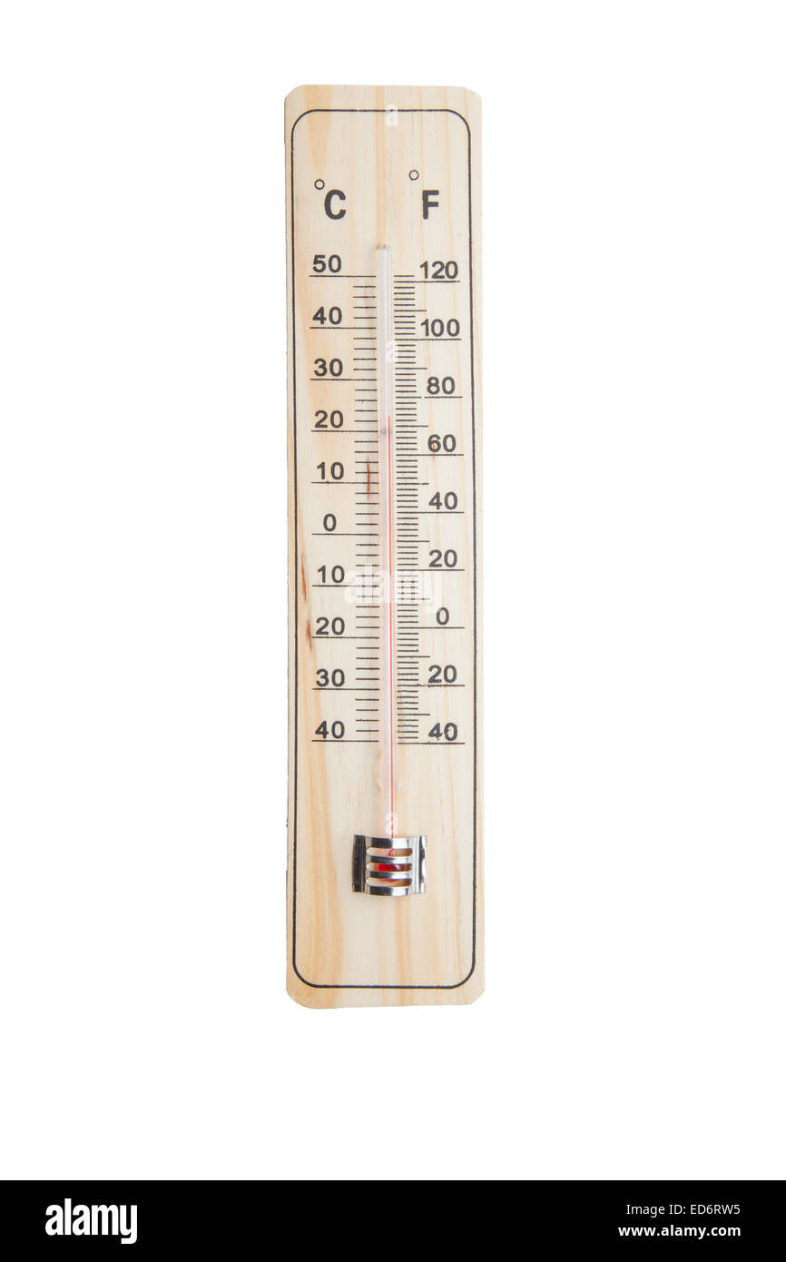 thermometer on a white background - Stock Image