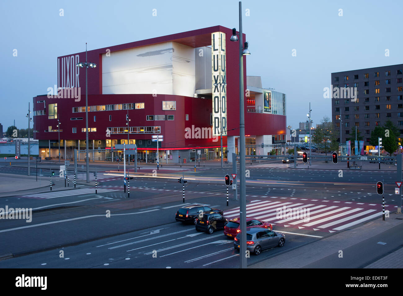 The New Luxor Theater contemporary, modern architecture in the city centre of Rotterdam in Holland, Netherlands. - Stock Image