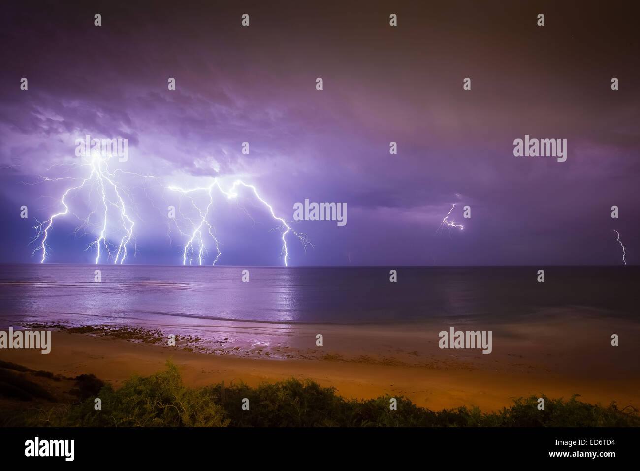 Lightning over the Southern Seas Stock Photo