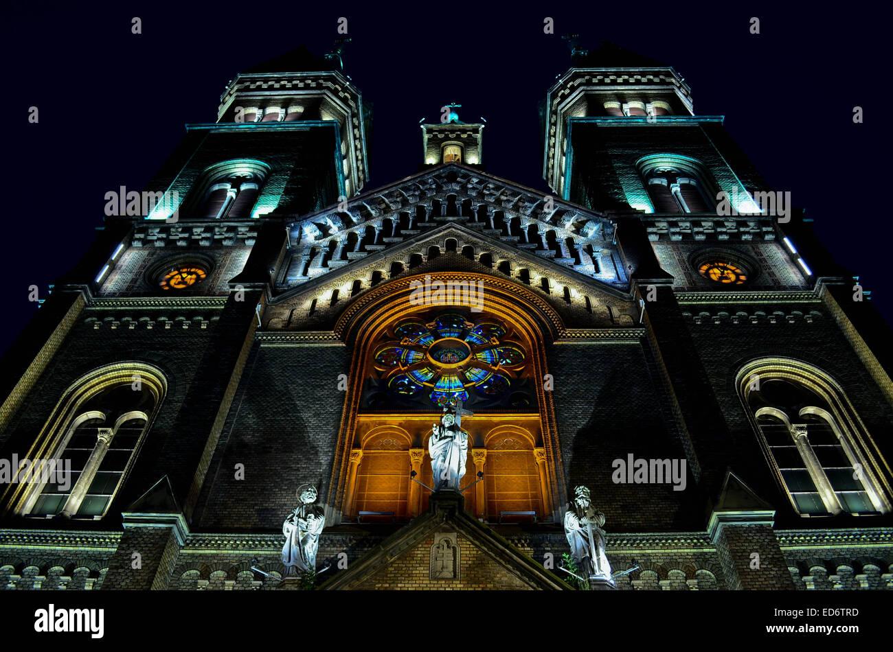 Millennium Church by night in Timisoara, Romania Stock Photo