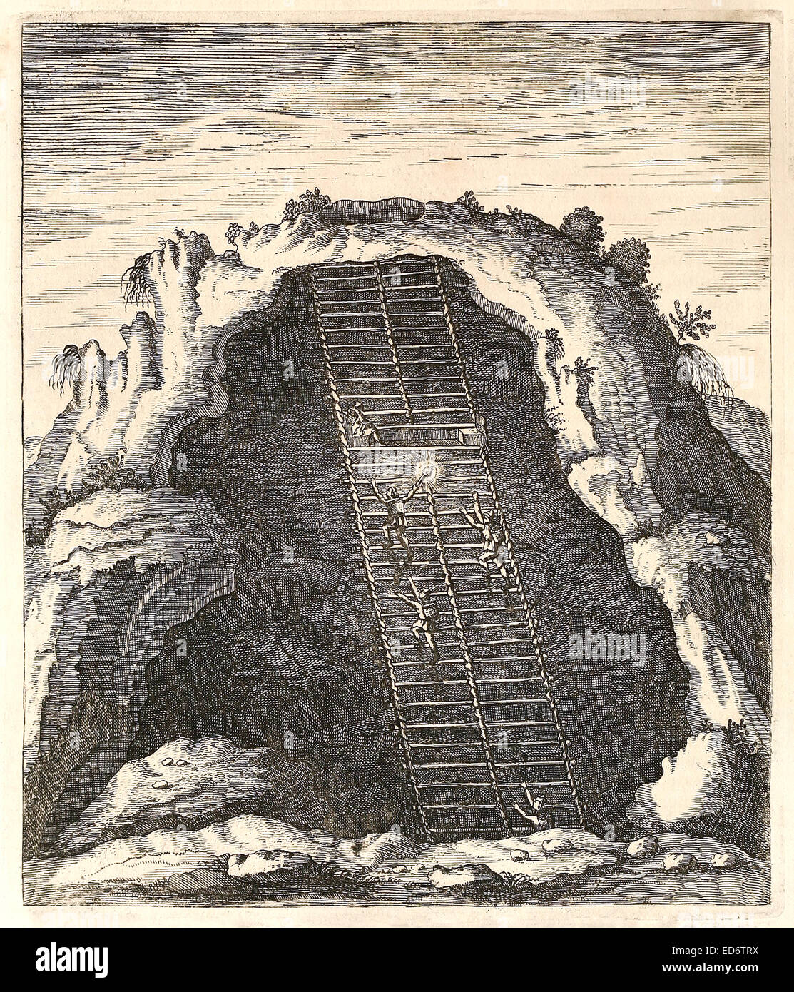 'Scalarum mira fabrica' 17th century illustration of ladder in the mines, probably Silver, of Peru featuring - Stock Image