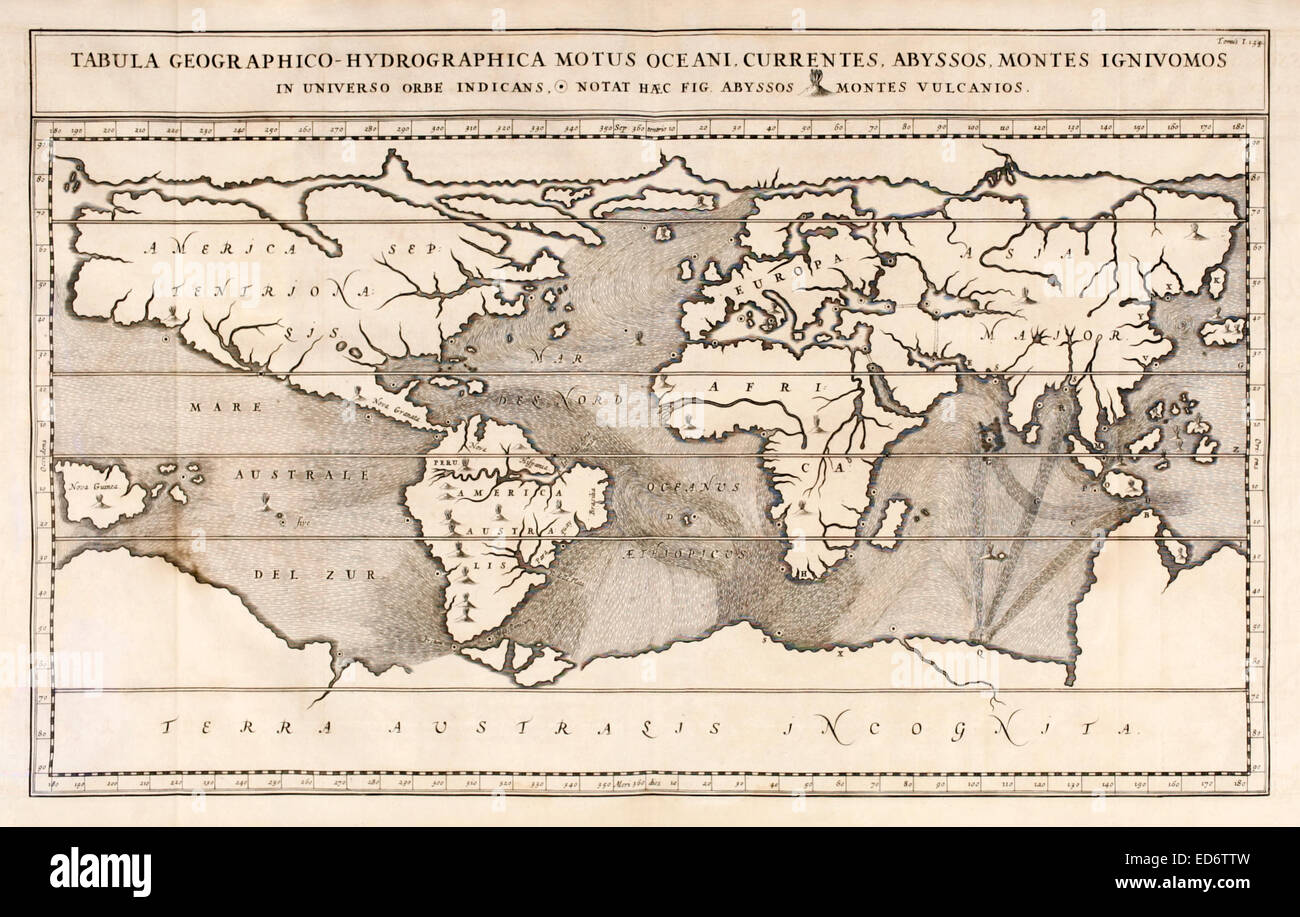 'Tabula Geographico-Hydrographica Motus Oceani',  the first world map to depict the oceans currents create - Stock Image