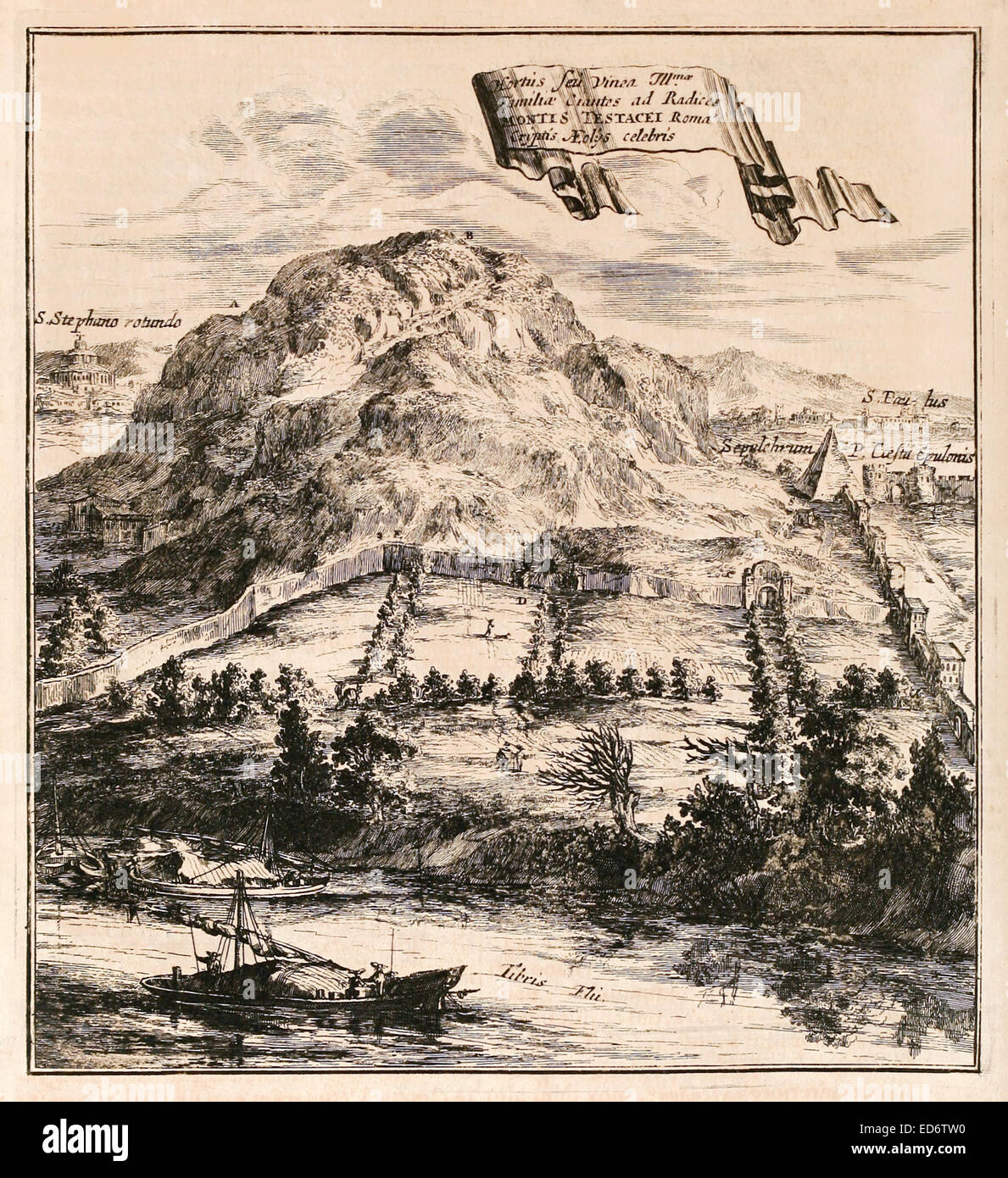 17th century illustration of Monte Testaccio, an artificial mound in Rome, Italy. and the Pyramid of Cestius. See Stock Photo