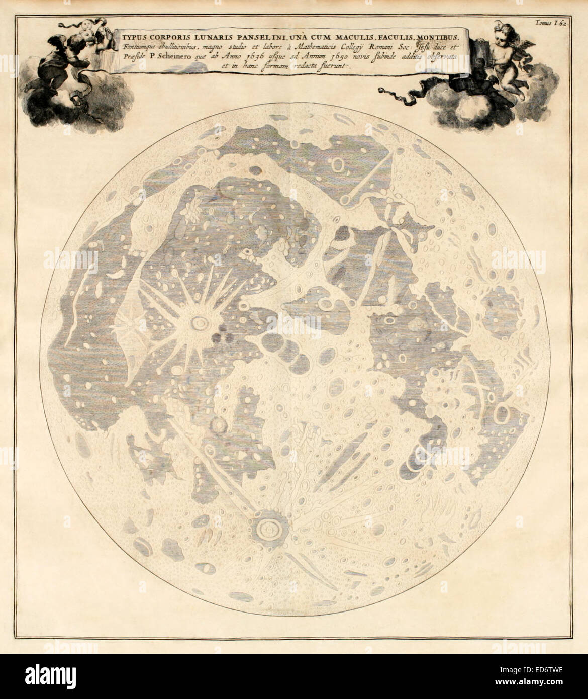 17th century illustration of the moon and its craters based on the observations of Athanasius Kircher and Christoph - Stock Image
