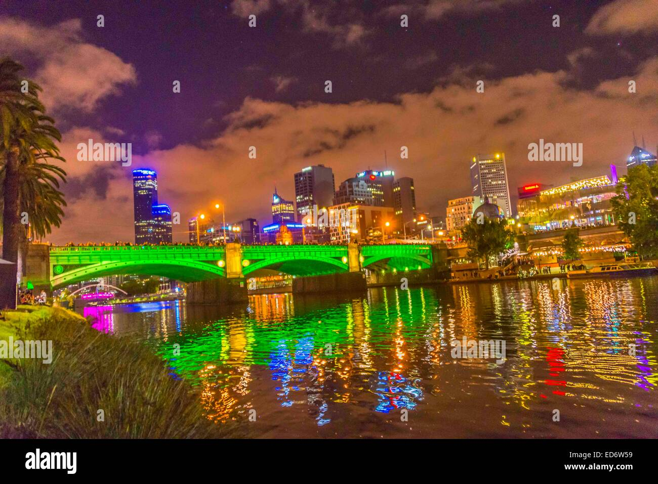 Bridge Melbourne Colour Lights On Princess Over The Yarra River During White Night Light Show Lit Up In Purple Gr