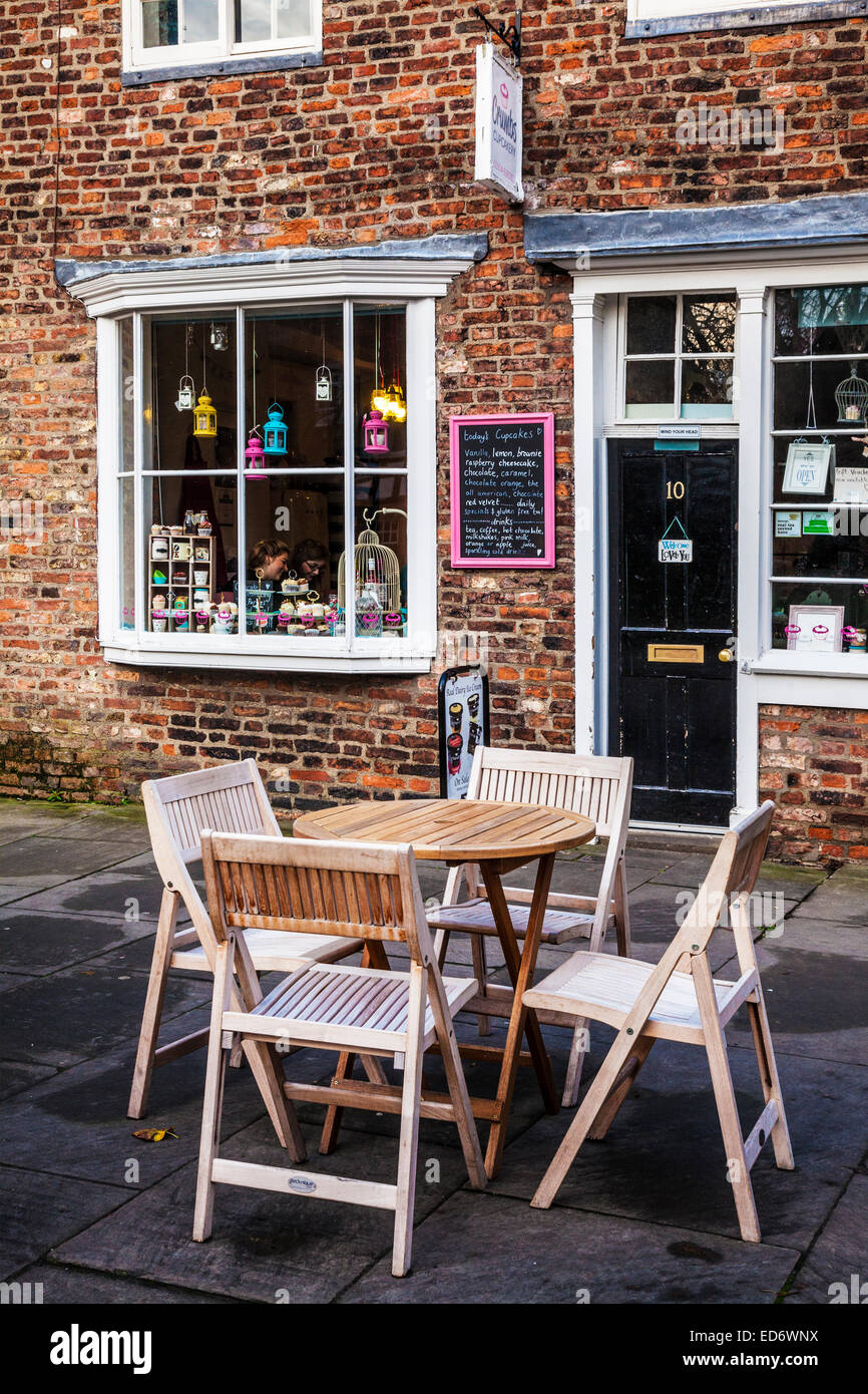 A cafe in the old city centre of York . - Stock Image