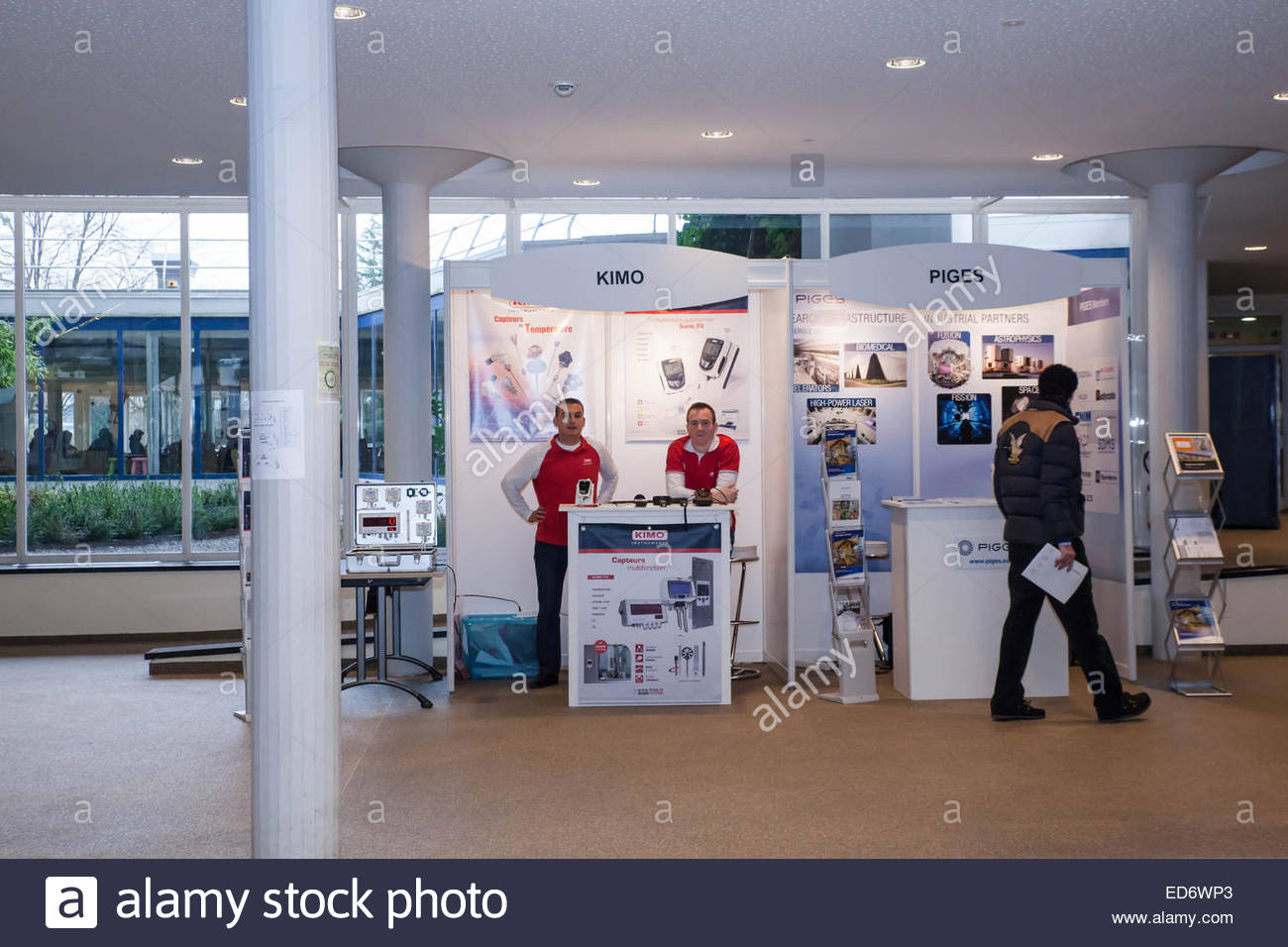 French companies at the Cern exhibition presenting their products to managers, CERN Geneva, December 2014 - Stock Image