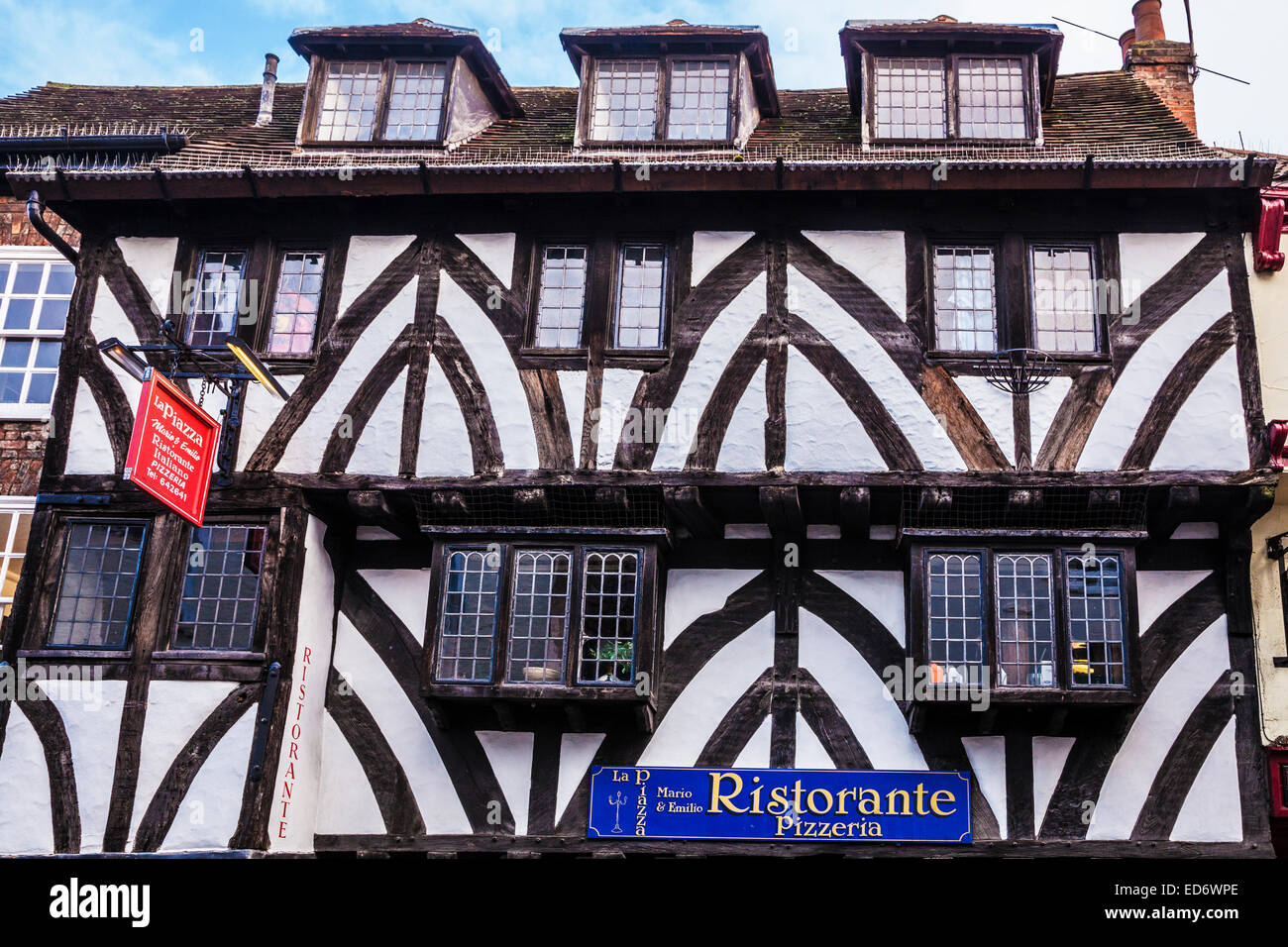Half timbered restaurant in the old city centre of York . - Stock Image