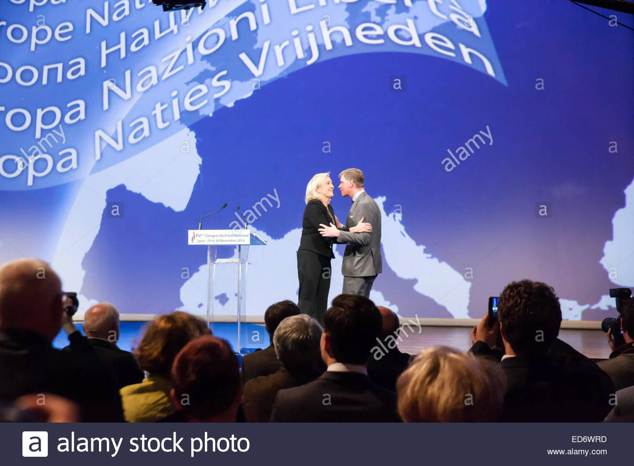 Marine Le Pen with Philips Claey president of the flemish Vlamm Belang Parti during the  Congress of the Front National, - Stock Image