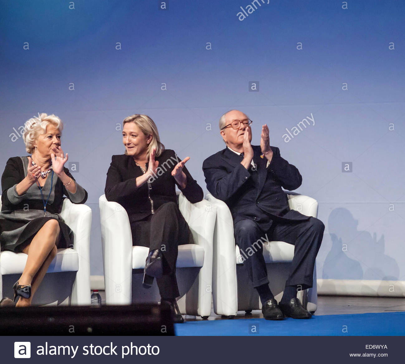 Marine Le Pen and her father  Jean-Marie Le Pen during the Congress of the Front National Parti, Lyon November 2014 - Stock Image
