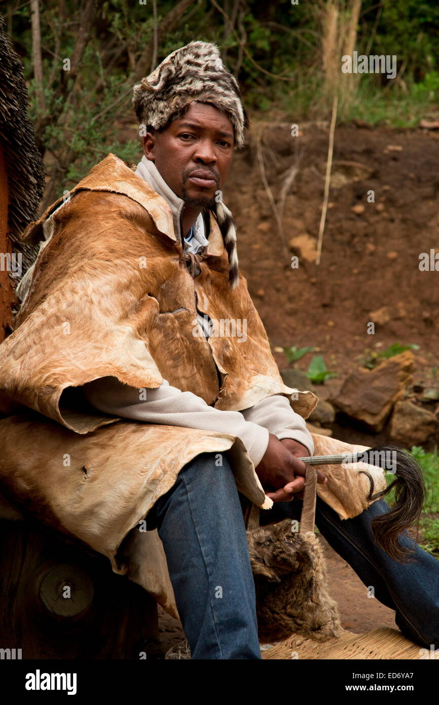 The Inyanga or herbal healer in a traditional Basutho village of Lesotho people. - Stock Image