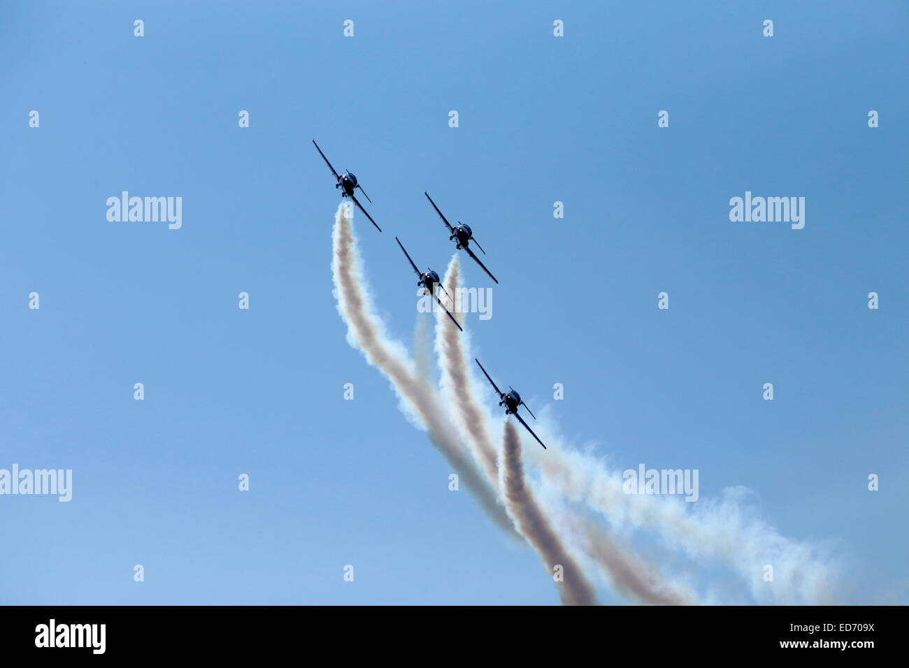 The Canadian Forces Snowbirds aerobatic team air show, Bromont, Eastern Townships, Quebec Province, Canada - Stock Image