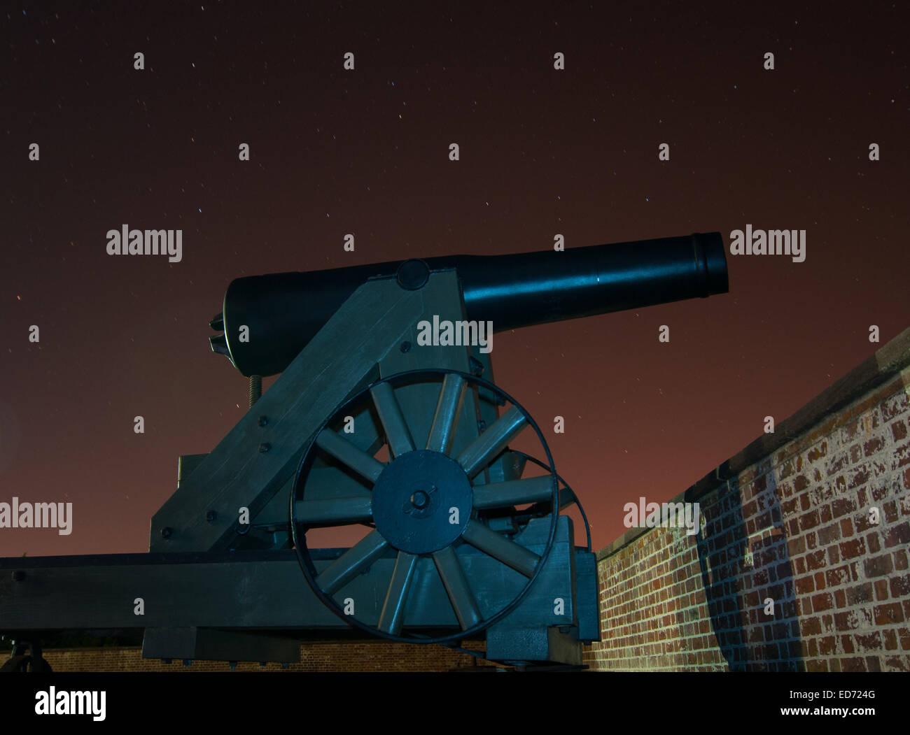 Canon gun on wheels at Fort Macon NC - Stock Image