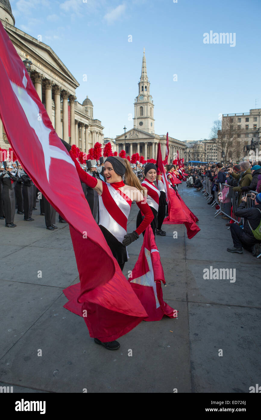 Trafalgar Square, London, UK.  30th December 2014.  James Bowie High School Marching Band, from Texas, performed - Stock Image