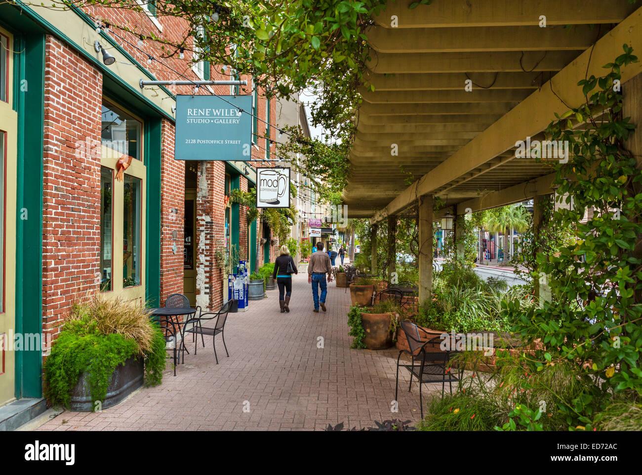 Postoffice Street in historic Strand district, Galveston,Texas, USA - Stock Image