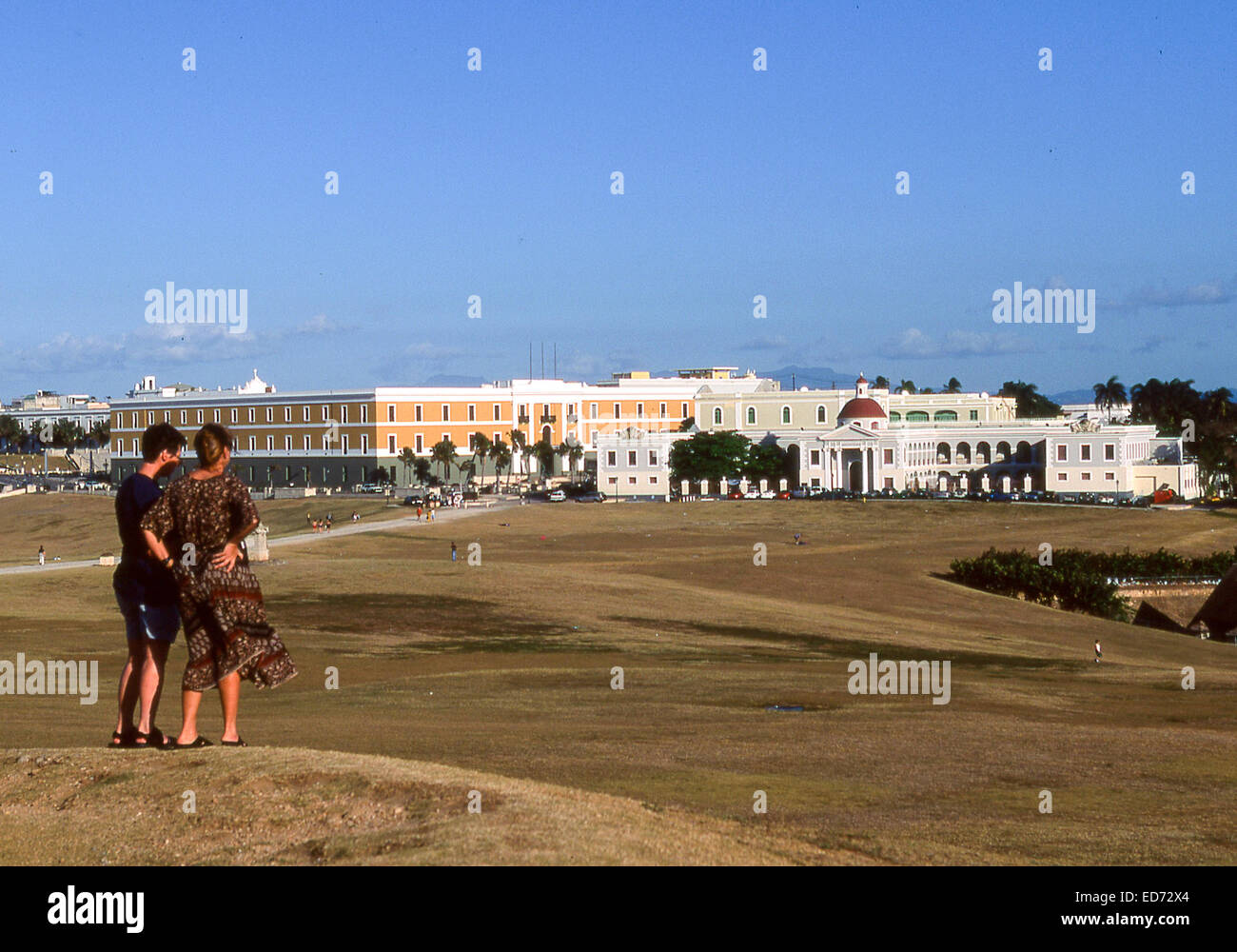 April 3, 2001 - San Juan, Puerto Rico, US - Tourists on a rise of the large esplanade of the famed Castillo San - Stock Image