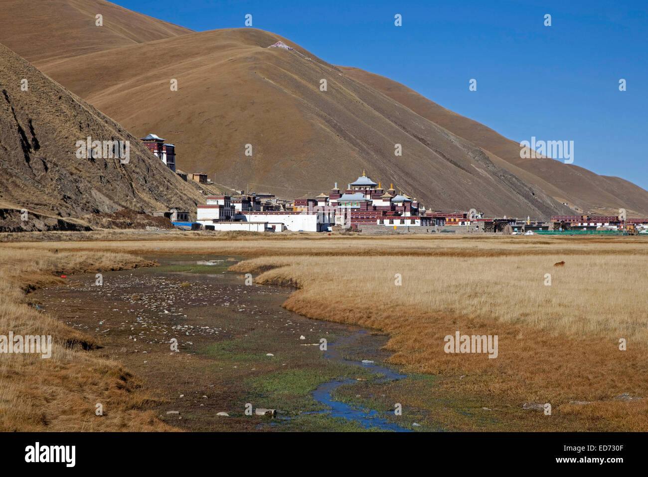The Tibetan monastery Sershu Dzong in the village Sershu / Serxu, Sichuan Province, China - Stock Image