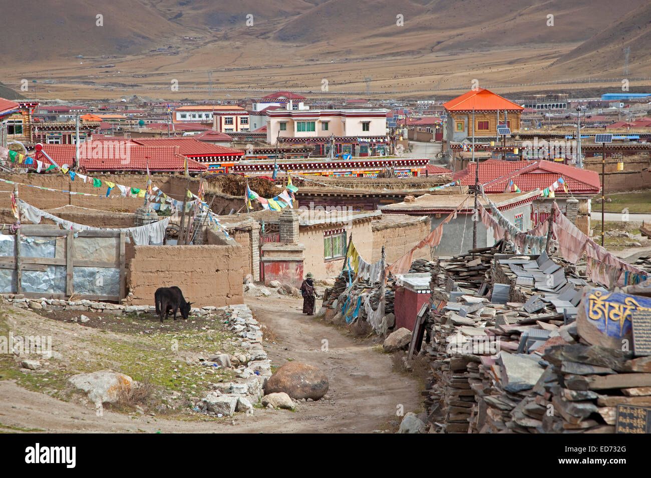 View over the village Zhuqing, Sichuan Province, China - Stock Image