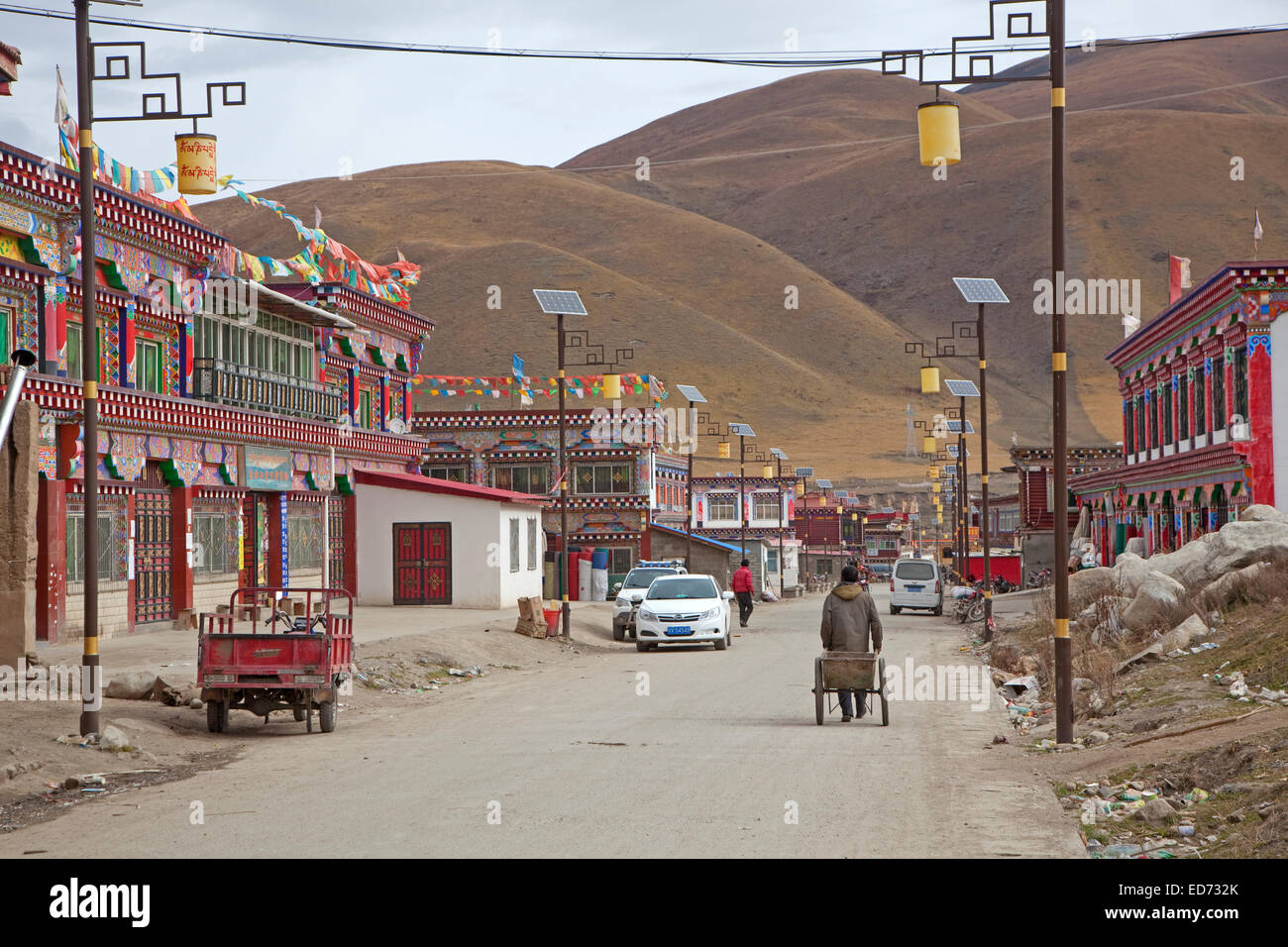 Colourful buildings in the village Zhuqing, Sichuan Province, China - Stock Image