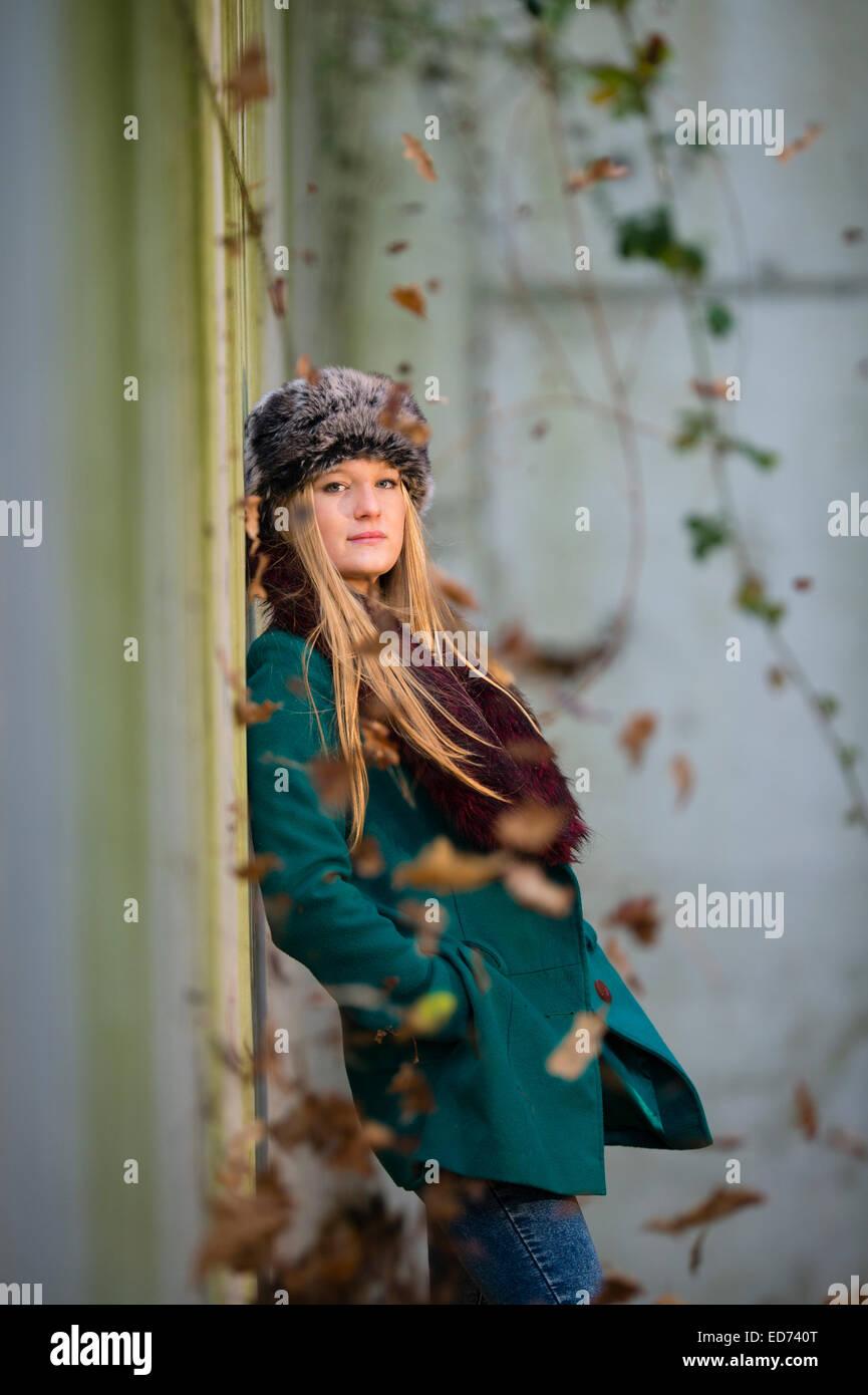 2647ab779 a young cool  scandinavian  blonde woman teenage girl wearing a ...