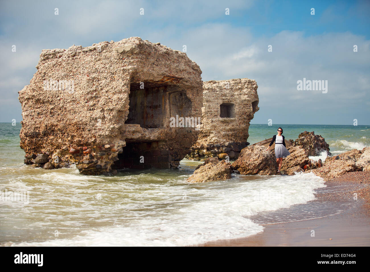 Stunning seascape with part of the old demolished forts in background in Liepaja, Latvia on the Baltic sea coast - Stock Image