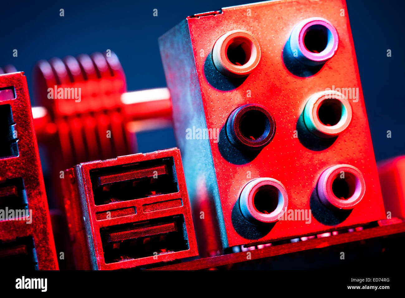 motherboard audio input output - Stock Image